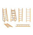 wooden ladder household tool isolated set vector image