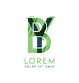 yb colorful logo design with green and dark green vector image vector image