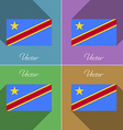 Flags Congo Democratic Republic Set of colors flat vector image