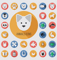 animals flat digital icon set vector image