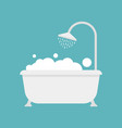 bath and shower with bubble icon vector image