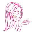 beautiful girl applying cream vector image vector image