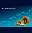 bitcoin currency crypto coin with growth chart vector image
