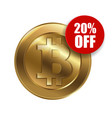 bitcoin sign with sale sign 20 percent vector image