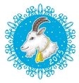 Card with blue snowflake and goat symbol of 2015 vector image vector image