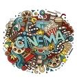 Cartoon cute doodles hand drawn Cinema inscription vector image vector image