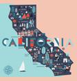 cartoon map california usa print design vector image vector image