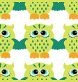 cartoon style seamless owl pattern fir ki vector image vector image