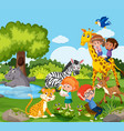 children playing with wild animal vector image vector image