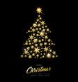 christmas and new year gold star xmas tree card vector image vector image