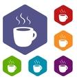 Coffee rhombus icons vector image vector image