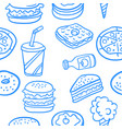 collection of food various doodles vector image vector image