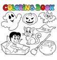 coloring book halloween cartoons 1 vector image