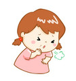 coughing girl cartoon vector image vector image