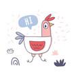 cute cartoon rooster with love emoji doodle vector image vector image