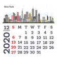 december 2020 calendar template with new york vector image vector image