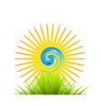 environment abstract sun shine and green field vector image vector image