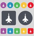 fighter icon sign A set of 12 colored buttons Flat vector image vector image