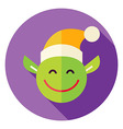 Flat Design Christmas Elf Circle Icon vector image