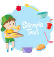 frame template with boy eating pizza vector image vector image