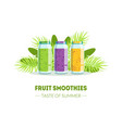fresh smoothies taste summer banner template vector image vector image