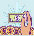 hand holding banknote dollar coins money cartoon vector image