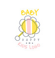 happy baby kids logo colorful hand drawn vector image vector image