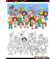 happy children characters group coloring book vector image
