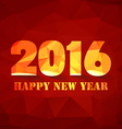 Happy new year 2016 polygonal red mosaic vector image vector image