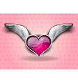 heart with the wings on the background vector image vector image