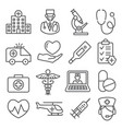 hospital line icons set on white background vector image vector image