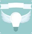 light bulb with idea and white wings vector image vector image