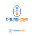 online home design template logo iconic symbols vector image vector image