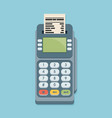 pos terminal in flat style on blue background vector image