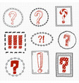 question and exclamation marks on hand drawn vector image