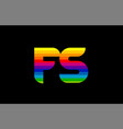 rainbow color colored colorful alphabet letter fs vector image vector image