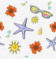 seamless background with summer objects sea shel vector image vector image