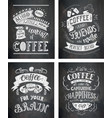 set of coffee quotes on the chalkboard vector image