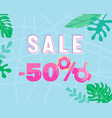 summer sale banner with palm leaves and inflatable vector image