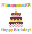 sweet cake for birthday celebration vector image