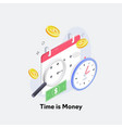 time is money concept clock and coin long term vector image vector image