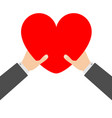 two businessman hands arms holding red heart icon vector image vector image