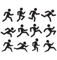 man running figure black pictograms jogging vector image