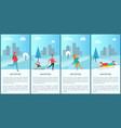 wintertime people activities vector image