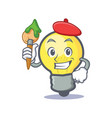 artist light bulb character cartoon