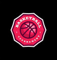 basketball league logo with ball pink color sport vector image vector image