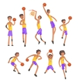 Basketball Players Of Same Team Action Stickers vector image vector image