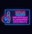 bowling neon sign neon frame bowling club vector image