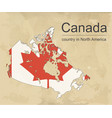 canada map with provinces and flag vector image vector image