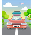 car with luggage goes on the road to travel vector image vector image